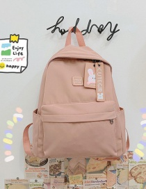 Fashion Pale Pinkish Gray Letter Logo Nylon Fabric Solid Color Backpack