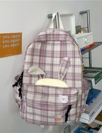 Fashion Light Pink Without Pendant Rabbit Ears Plaid Stitching Backpack