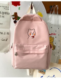 Fashion Pink Without Pendant Embroidered Bear Nylon Backpack