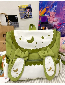 Fashion Green Moon Star Rabbit Ears Bow Contrast Color Backpack