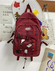 Fashion Red Without Pendant Mesh Stitching Buckle Letter Logo Backpack