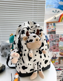 Fashion White Cow Pendant Cow Print Doll Canvas Backpack