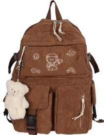 Fashion Brown Send Bear Pendant Embroidered Bear Corduroy Backpack