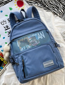 Fashion Blue Without Pendant Mesh Stitching Letter Logo Backpack