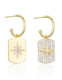 Fashion Gold-plated White Zirconium Diamond Eight-pointed Star Gold-plated Glossy Tag Earrings