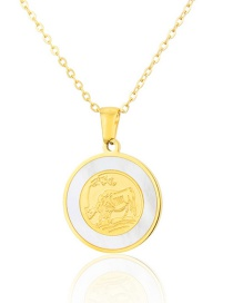 Fashion Gold Color Titanium Steel Shell Cow Round Necklace