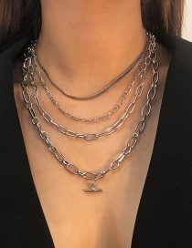 Fashion White K Alloy Snake Bone Chain Multilayer Necklace