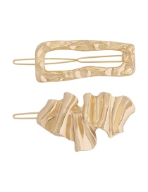 Fashion Gold Color Alloy Geometric Wave Pattern Hollow Hairpin Set