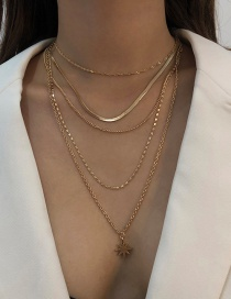 Fashion Gold Color Alloy Multilayer Geometric Awning Star Necklace