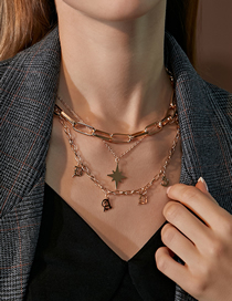 Fashion Kc Gold Star Thick Chain Alloy Letter Multilayer Necklace