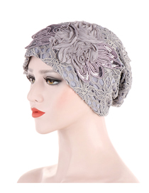Fashion Gray Muslim Toe Cap With Lace Flower Edging