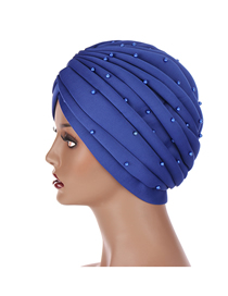 Fashion Royal Blue Indian Solid Color Space Cotton Hand-stitched Beaded Muslim Toe Cap