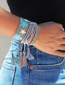 Fashion Set Price Gray Crystal Rice Beads Five-pointed Star Handmade Beaded Bracelet