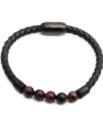 Fashion Tiger Eye 2 Stainless Steel Magnetic Buckle Leather Volcanic Stone White Turquoise Tiger Eye Beaded Bracelet