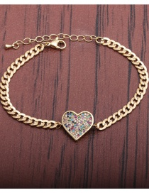 Fashion Heart Micro Inlaid Zircon Stitching Peach Heart Bracelet