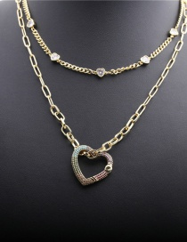 Fashion 40cm Thin Chain 10cm Thick Chain Set 1 Micro-inlaid Zircon Love Heart Copper Gold-plated Multilayer Necklace