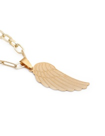 Fashion 40cm Chain + Angel Wings 3 Stainless Steel Angel Wing Pendant Necklace