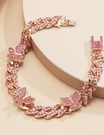 Fashion Rose Gold Pink Diamonds Butterfly Diamond Cuban Buckle Alloy Anklet