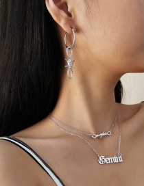 Fashion White K Geometric Irregular Chain Buckle Letter Earring Necklace