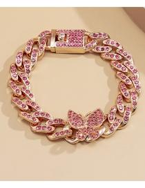 Fashion Rose Gold Pink Diamonds Cuban Buckle Butterfly Bracelet With Diamonds