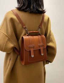 Fashion Brown Stitching Flap Stitched Backpack