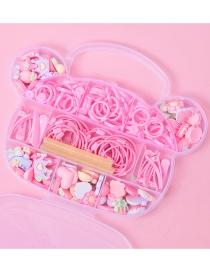 Fashion Pink Fruit Flower Resin Open Ring Headband Set