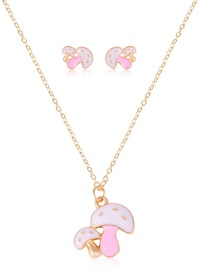 Fashion Pink Mushroom Shape Dripping Oil Necklace Earring Set