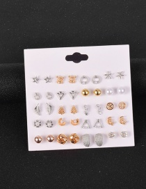 Fashion Color Mixing Set Of Geometric Alloy Earrings With Rhinestones
