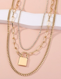 Fashion Gold Color Lock Shaped Diamond Alloy Multilayer Necklace