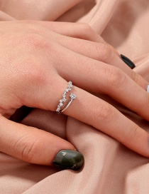 Fashion Silver Color Irregularly Arranged Diamond Open Ring