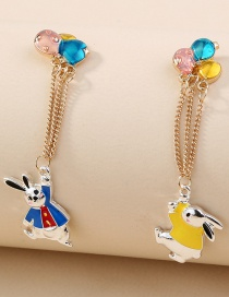 Fashion Color Mixing Oil Dripping Balloon Rabbit Long Tassel Asymmetric Earrings