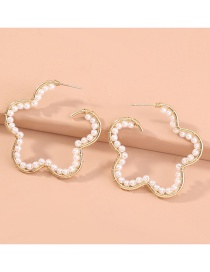 Fashion Gold Color Flower Shape Hand-woven Pearl Earrings