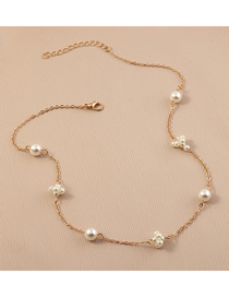 Fashion Gold Color Pearl Beaded Thin Chain Necklace