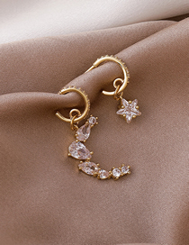 Fashion Gold Color Star And Moon Asymmetrical Alloy Earrings With Diamonds