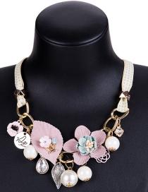 Fashion 7806 Yellow Alloy Diamond Flower Hollow Geometric Necklace