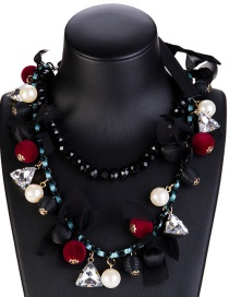 Fashion 7846 Red And Black Alloy Diamond Flower Hollow Geometric Necklace