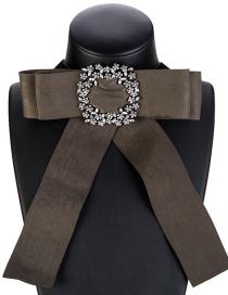Fashion 7869 Brown Alloy Diamond Flower Hollow Geometric Necklace