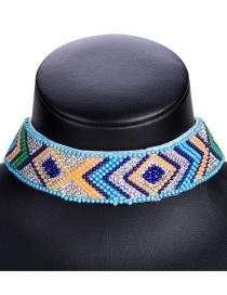 Fashion 8038 Blue Alloy Diamond Flower Hollow Geometric Necklace