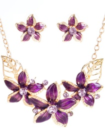 Fashion 7403 Purple Alloy Diamond Letter Disc Pendant Hair Ball Multilayer Necklace Earrings