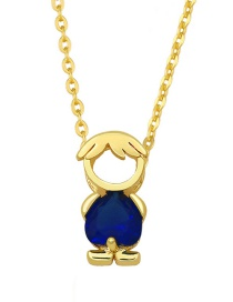 Fashion Boy Boy And Girl Pendant Necklace With Gold-plated Copper And Diamonds
