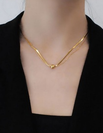 Fashion Gold Color Alloy Round Snake Bone Chain Multilayer Necklace