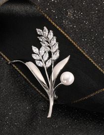 Fashion Wheat Ears Gold-plated Copper Brooch With Wheat Ear Diamonds And Pearl