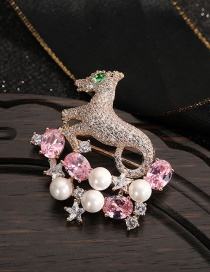 Fashion Lu Cai Antlers/ Diamonds/ Pearls And Five-pointed Star Gold-plated Brass Brooch