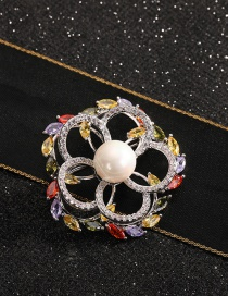 Fashion Flowers Gold-plated Copper Brooch With Diamonds/ Flowers And Pearls
