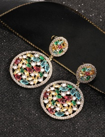 Fashion Round Round Micro-inlaid Zircon Hollow Copper Gold-plated Earrings