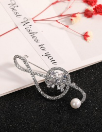 Fashion Note Pearl Brooch With Diamond Notes