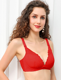 Fashion Big Red Breathable Lace Front Buckle Nursing Bra