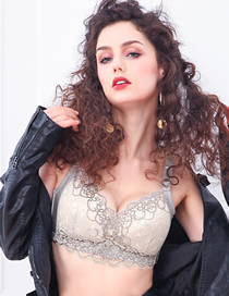 Fashion Gray Honeycomb Mold Cup Breathable Lace Front Buckle Nursing Bra