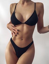 Fashion Black Solid Color Pit Strip Thong Split Swimsuit