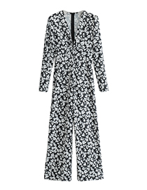 Fashion Printing V-neck Printed Cross-knotted Long-sleeved Jumpsuit